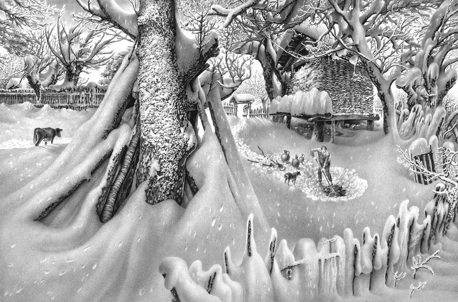 Картинки первый снег зима простым карандашом