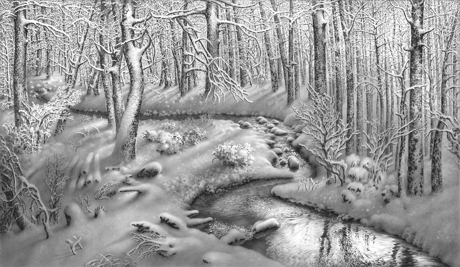 рисунок реки карандашом: